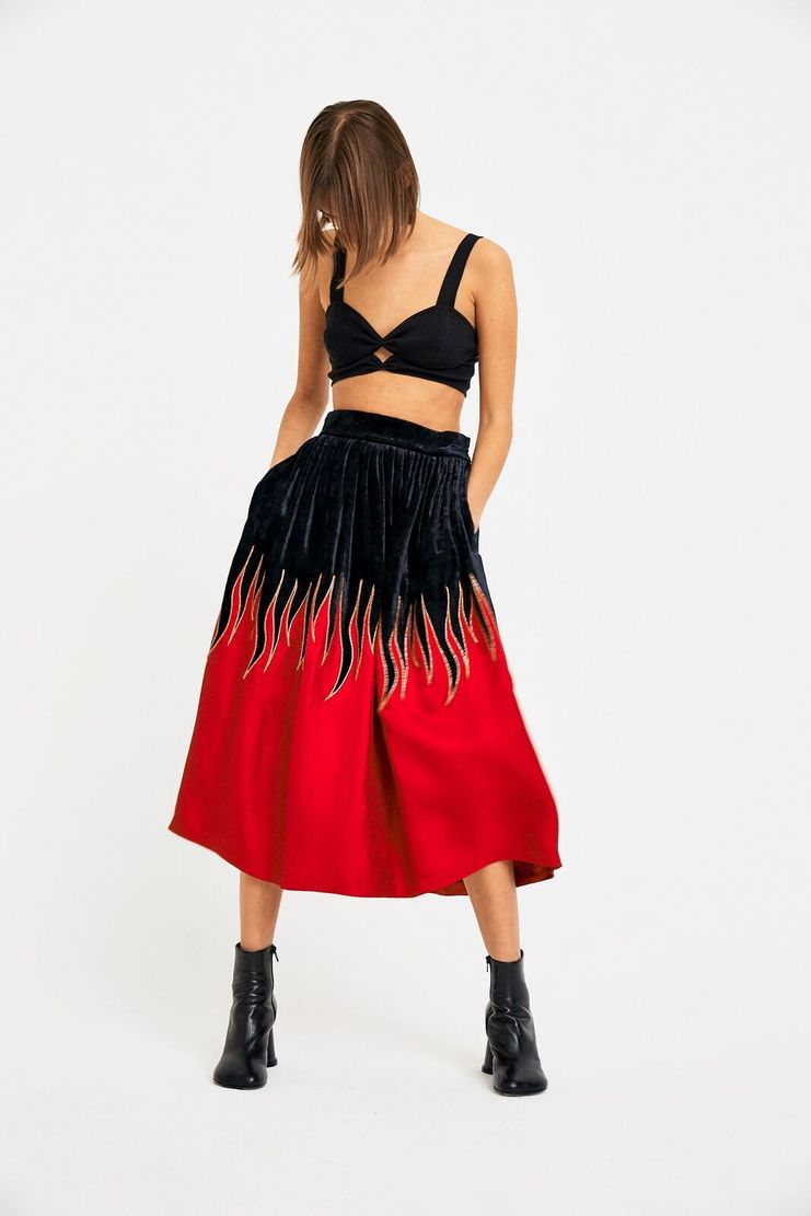 Maison Margiela Flame Skirt A/W 17 AW17 F/W 17 FW17 Bottoms Hellfire Velvet John Galliano Magiela Margela Black Red Yellow