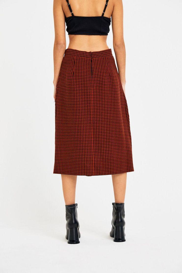 Maison Margiela Check Crepe Wool Skirt A/W 17 AW17 F/W 17 FW17 Tartan Red Black John Galliano Margela Magiela Checkered Chequered