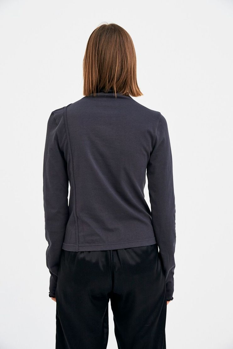 SIRLOIN Grey Long Clavic-T T-shirt Charcoal Long Sleeve Pullover Jumper Dark High Neck Ruffle Asymmetric A/W 17 F/W 17 FW17 AW17