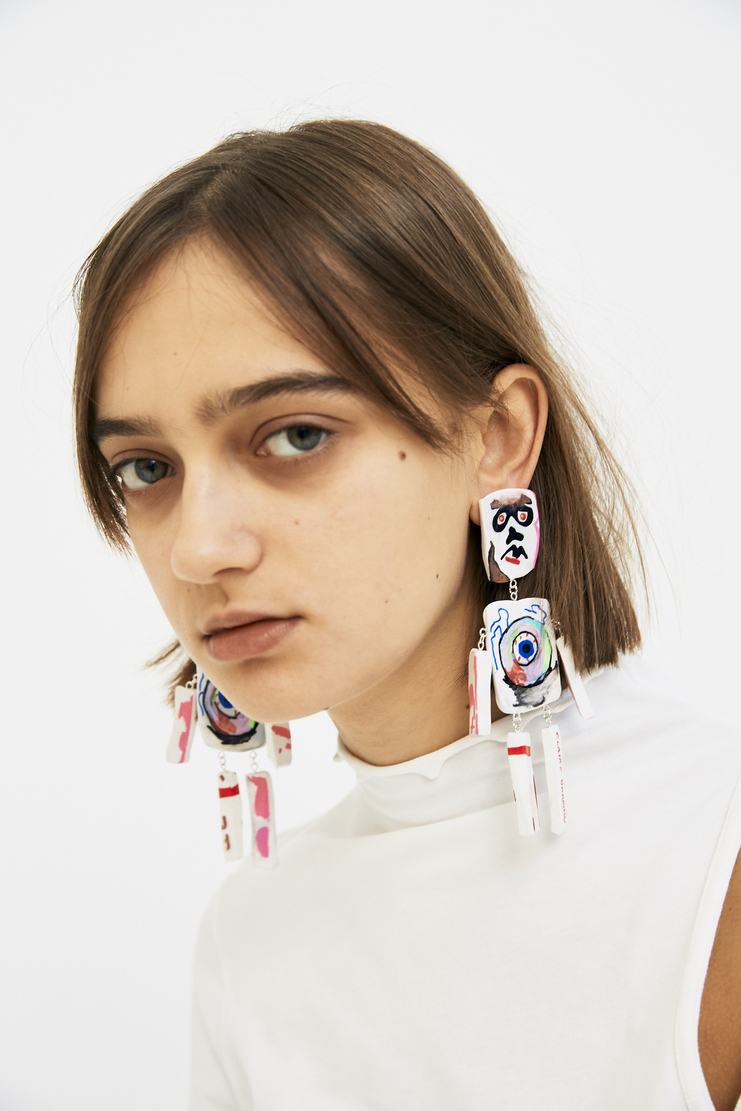Claire Barrow sexy figure earrings 1 2 3 white multicolour rainbow paint acrylic art illustrator dangly clip on aw17 halloween machine a collaboration