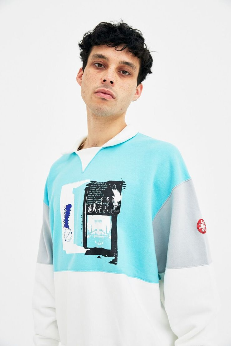 Cav Empt Turquoise Collared Sweatshirt A/W 17 F/W 17 FW17 AW17 blue green polo jumper pullover cavempt cab emot empr christmas