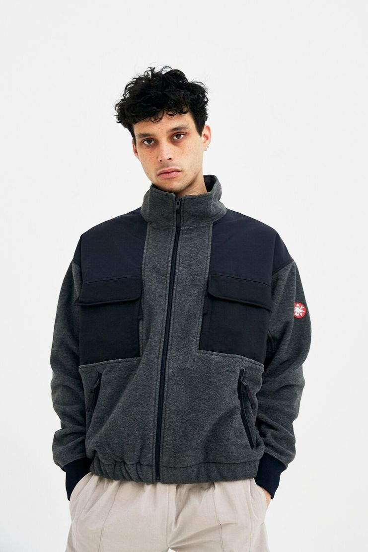 Cav Empt Grey Zip-Up Fleece jumper jacket coat winter christmas A/W 17 F/W 17 FW17 AW17 high collar stretch csv cavempt cave emot