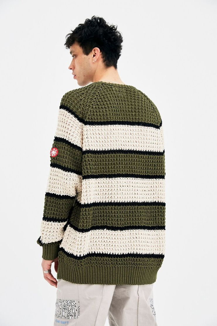 Cav Empt Green Stripe Jumper sweater pullover waffle knit khaki cream black winter christmas A/W 17 F/W 17 FW17 AW17 cavempt cabe cavr empo emot emp