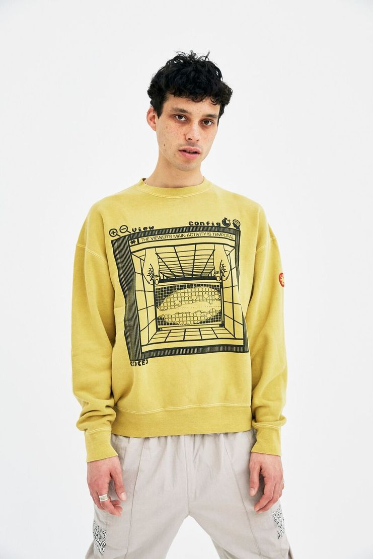 Cav Empt Mustard Temporal Crew A/W 17 F/W 17 FW17 AW17 jumper sweater pullover cavempt cab empot emot yellow christmas winter