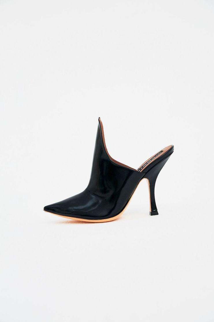 Y / Project Black Mules Pointed Toe Court Shoes Heels Slip-On Slip On Sculpted Shine Patent 5-inch Y/Project y-project YPROJECT y project A/W 17 F/W 17 FW17 AW17