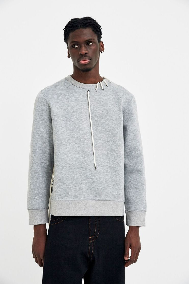 Craig Green Grey Laced-Up Bonded Sweatshirt A/W 17 F/W 17 FW17 AW17 Charcoal Black Dark Lace Streetwear Christmas Black Friday Autumn Winter Craiggreen Craigreen Crag Gren Greem
