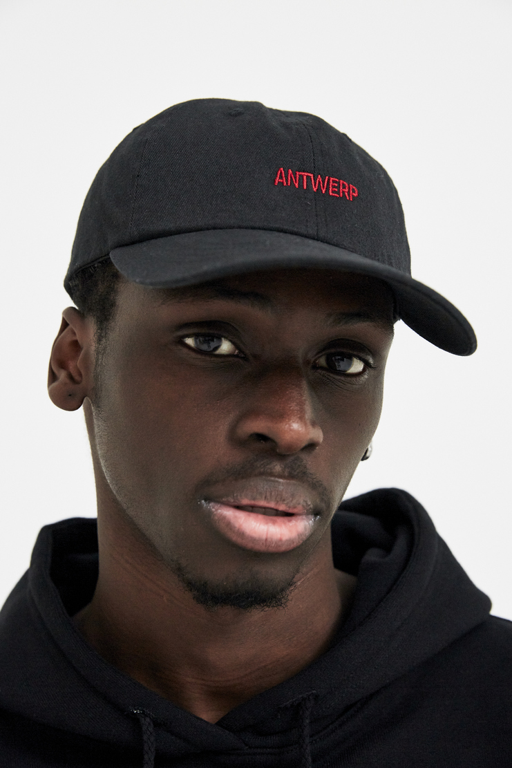 VIER Black Antwerp Dad Cap raf simons hat sticker embroidery red belgium ss18 aw17 skate
