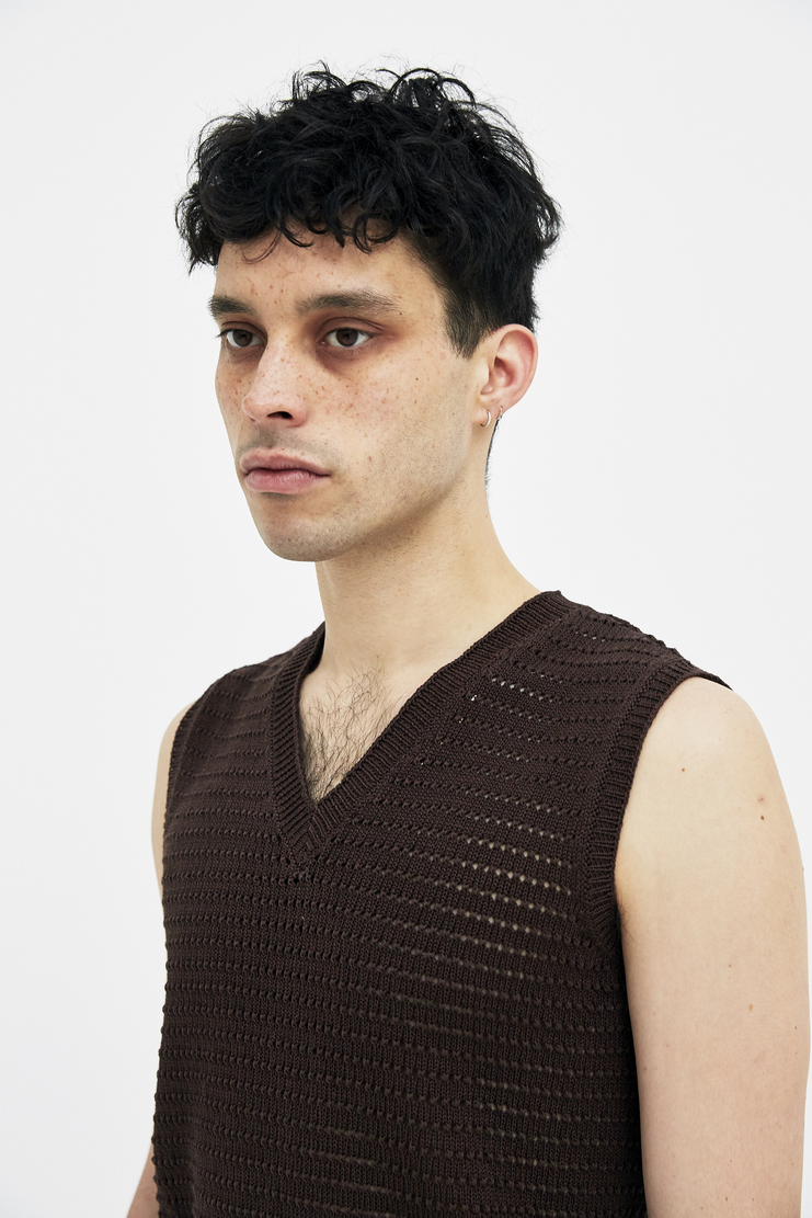Maison Margiela Brown Vest Sweater Knitted Jumper Top Winter Spring Summer SS18 S/S 18 A/W 17 AW17 FW17 F/W 17 Autumn knit woven margela mason sleeveless