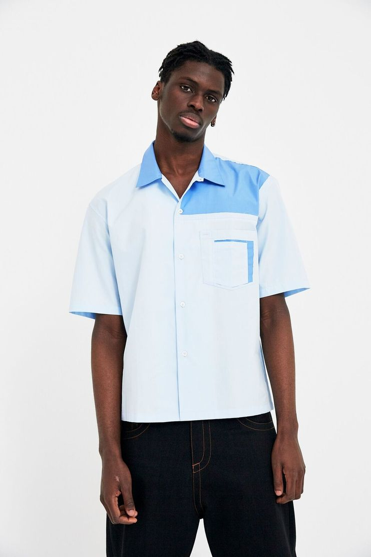Maison Margiela Light Blue Collared Shirt Turquoise Sailor A/W 17 F/W 17 FW17 AW17 S/S 18 SS18 Mason Manson Maisson Margela Margeila Margela Margella