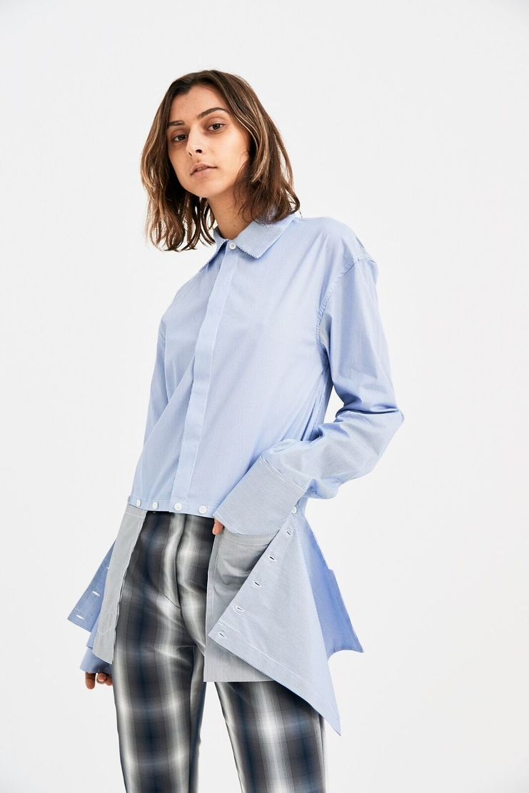 DELADA Oversized blue Stripe Shirt Concealed Pockets long sleeve S/S 18  ss17 dilada Spring Summer 2018 DMS3SH01