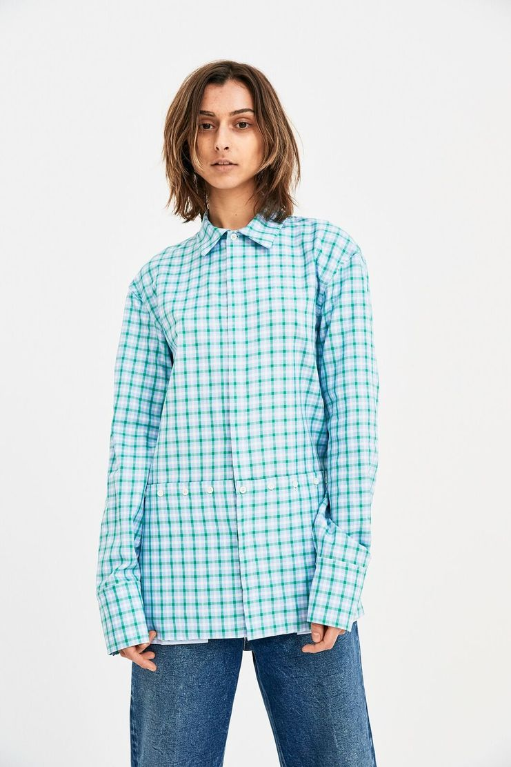 DELADA Oversized green checked Shirt Concealed Pockets long sleeve S/S 18  ss17 dilada Spring Summer 2018 DWPS3SH01