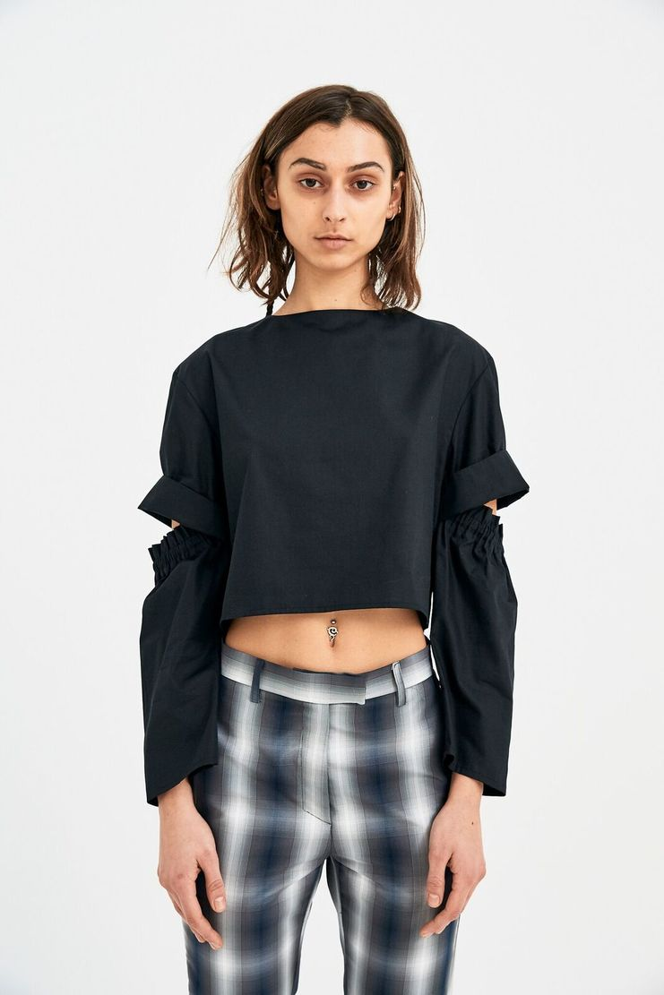 DELADA Cropped Long Sleeves shirt Open Elbow Black S/S 18 ss 17 dilada DWPSTOP3