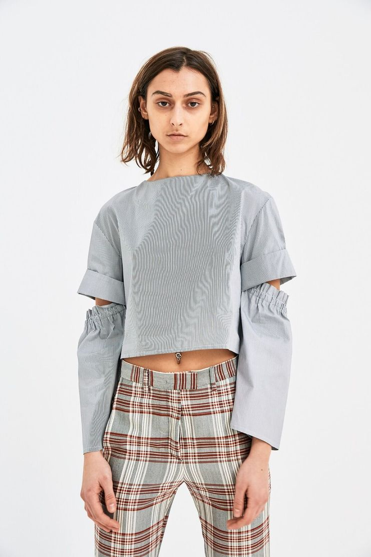 DELADA Cropped Long Sleeve shirt Open Elbow Grey Stripe S/S 18 ss 17 dilada DWPSTOP3 top t-shirt grey white pinstripe