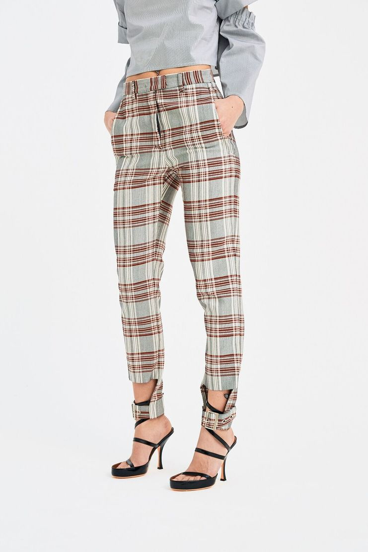 DELADA Strap Check Trousers bottoms pants adjustable Spring Summer 2018 SS18 S/S 18 dilada checked grey white red tartan stripe striped