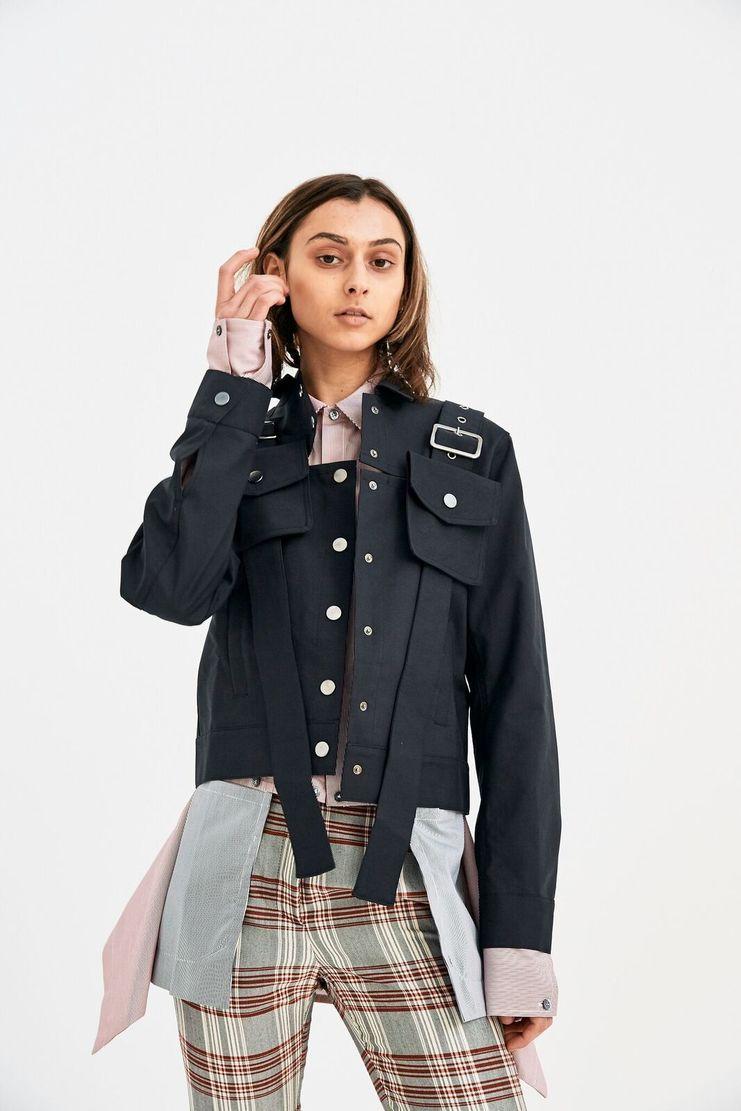 DELADA Black Military Jacket long sleeve belt bag detail s/s 18 ss18 Spring Summer 2018 dilada coat