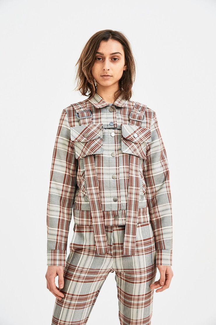 DELADA Red Check Military Jacket long sleeve belt bag detail s/s 18 ss18 Spring Summer 2018 dilada coat grey white stripe