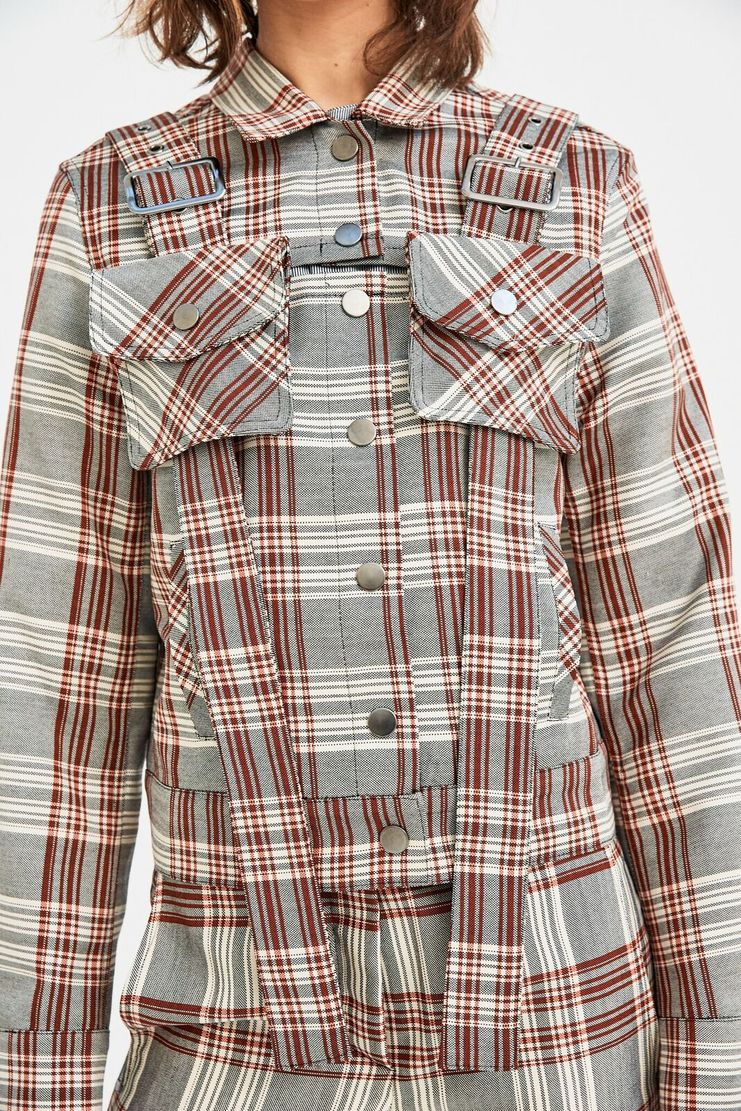 DELADA Red Check Military Jacket long sleeve belt bag detail s/s 18 ss18 Spring Summer 2018 dilada coat grey white stripe