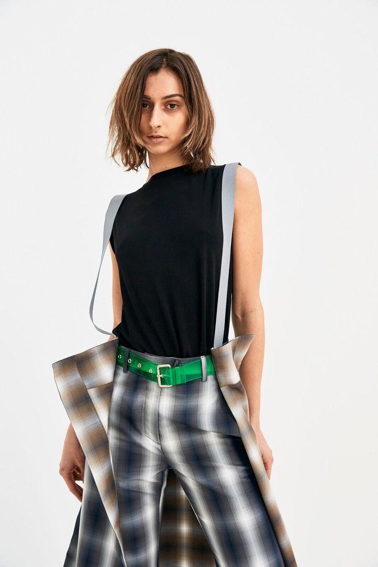 DELADA grey check skirt accessory PVC belt S/S 18 ss18 dilada Spring Summer 2018 Machine-A DELADA green blue white DWPS3ACC2