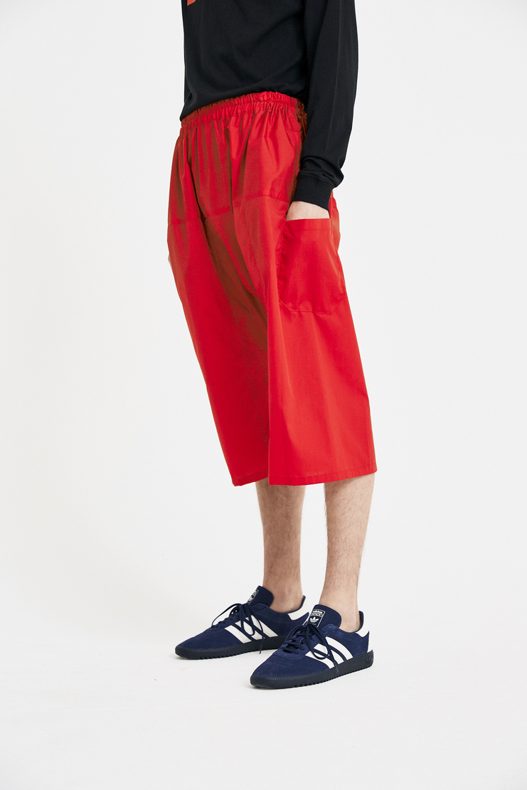 Raf Simons Red Short Pants S/S 18 SS18 Elasticated Spandex Trousers Raff Raaf Simoons Symons Simmons 181-350-15010-00030 Machine-A