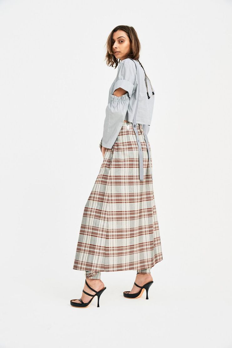 DELADA red check skirt accessory PVC belt S/S 18 ss18 dilada Spring Summer 2018 Machine-A green red white DWPS3ACC2