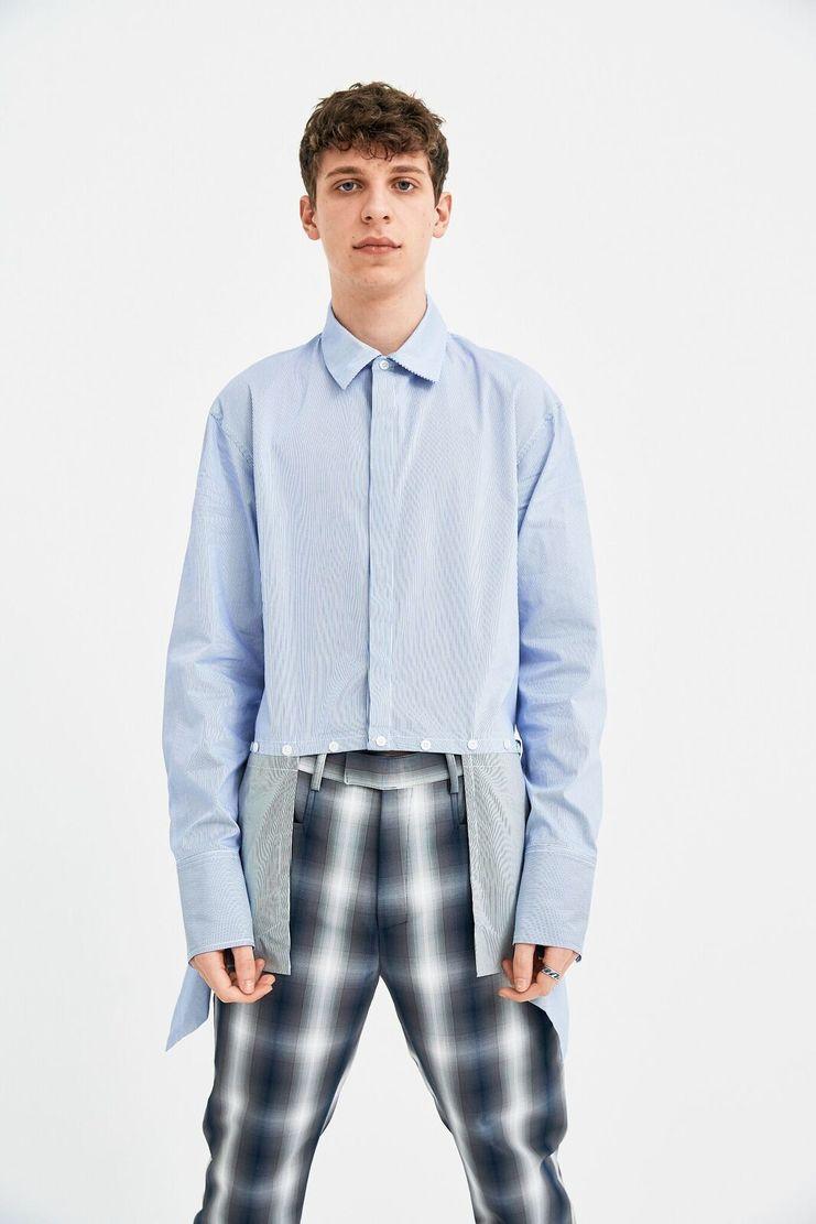 DELADA Oversized Blue Stripe Shirt Concealed Pockets long sleeve S/S 18  ss17 dilada Spring Summer 2018 DMS3SH01