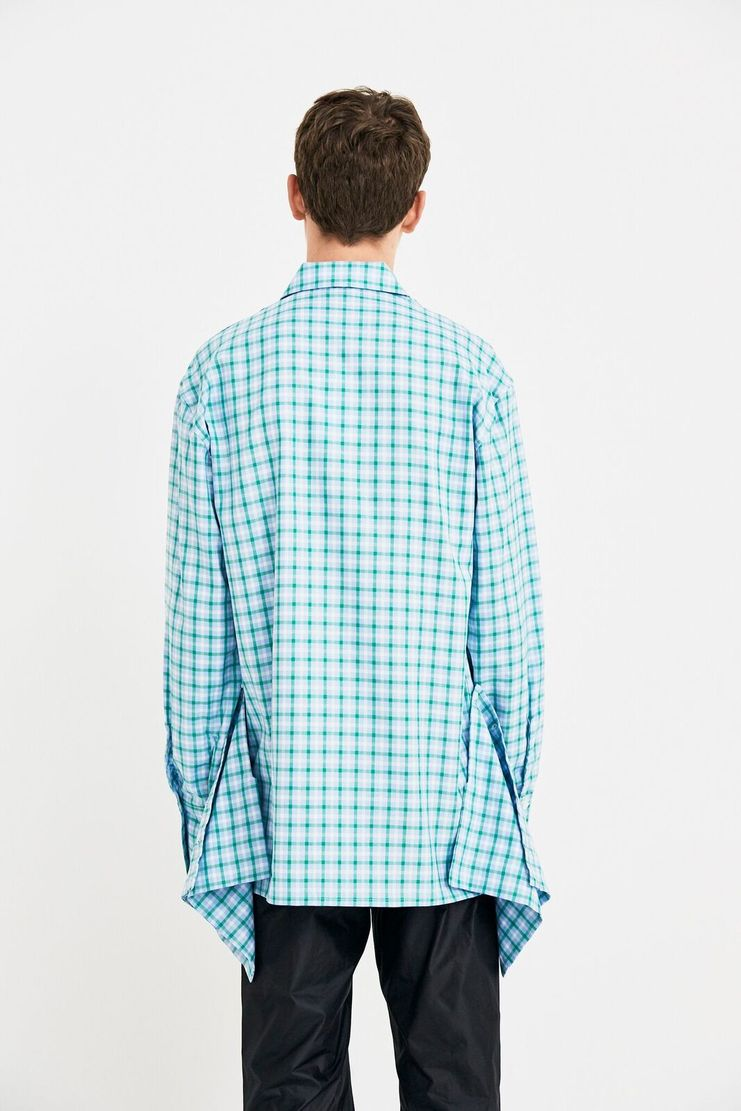 DELADA Oversized green checked Shirt Concealed Pockets long sleeve S/S 18  ss17 dilada Spring Summer 2018 DMS3SH01