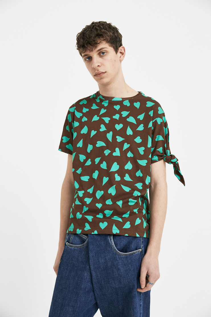JW Anderson Brown Heart Knots T-Shirt Tee Top JE31MS18 S/S 18 SS18 Spring Summer Autumn Winter A/W 17 F/W 17 AW17 FW17 J.W. Andersan Andersson Andersen Anderssen Machine-A