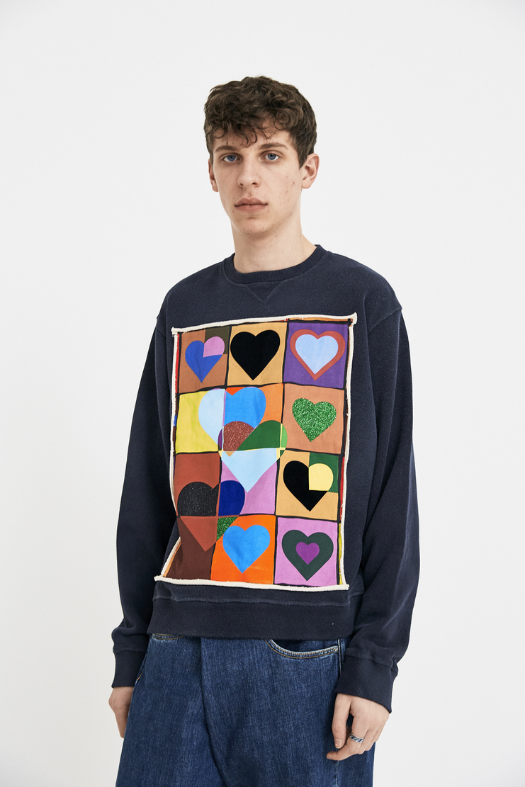JW Anderson Heart Grid Sweater Sweatshirt Jumper S/S 18 SS18 JE37MS18 Multicolour Multicolor Navy Crew Long Sleeve S/S 18 SS18 Spring Summer Autumn Winter A/W 17 F/W 17 AW17 FW17 J.W. Andersan Andersson Andersen Anderssen Machine-A