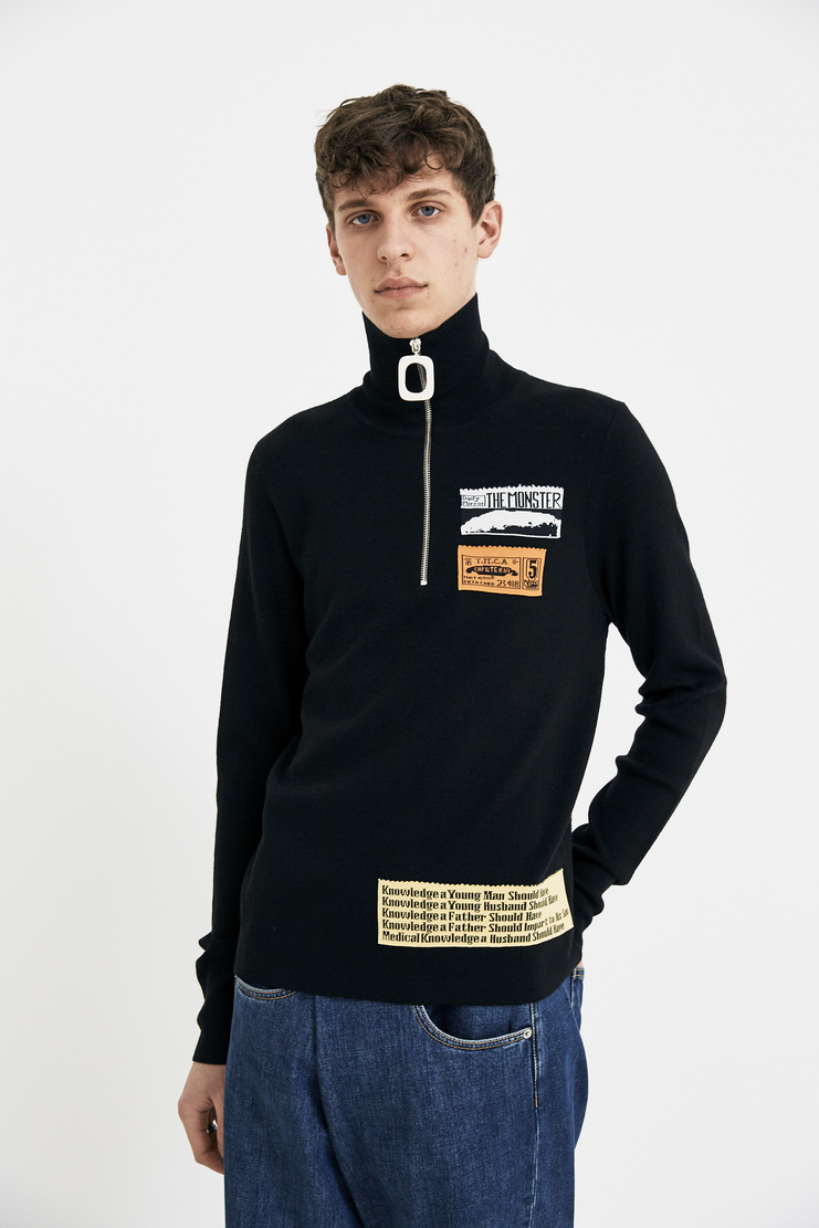 JW Anderson Black Bubblegum Patch Jumper Sweater Sweatshirt Black White Pendant Zip Collar KW31MS18 S/S 18 SS18 Spring Summer Autumn Winter A/W 17 F/W 17 AW17 FW17 J.W. Andersan Andersson Andersen Anderssen Machine-A