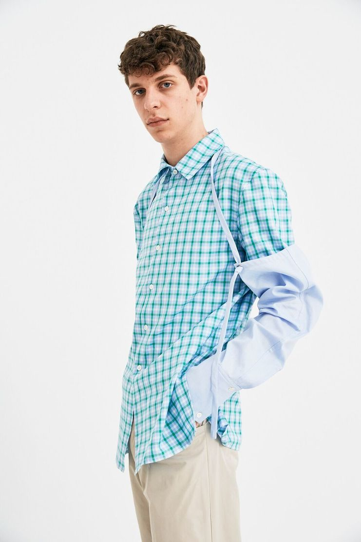 DELADA Short Sleeve Shirt Green Checked Detachable Sleeves Sleeve Accessory Spring Summer 2018 SS18 DMS3SH04