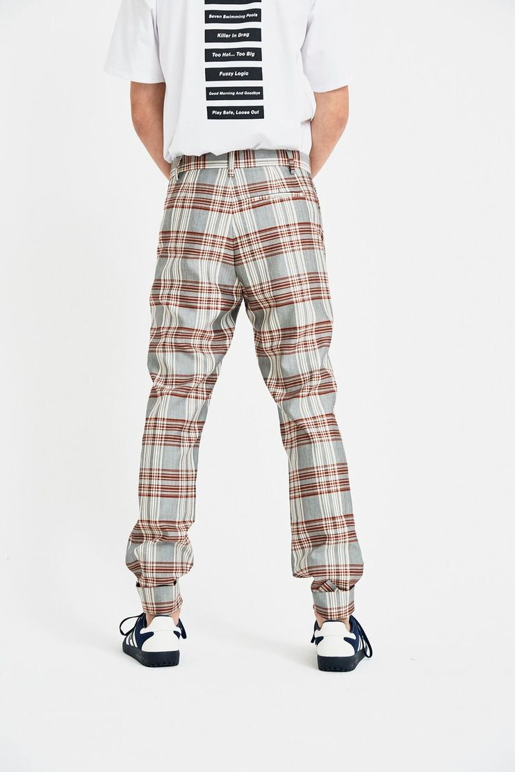 DELADA trousers pants red check tailored S/S 18 ss18 dilada Spring Summer 2018 Machine-A DSM3TR03