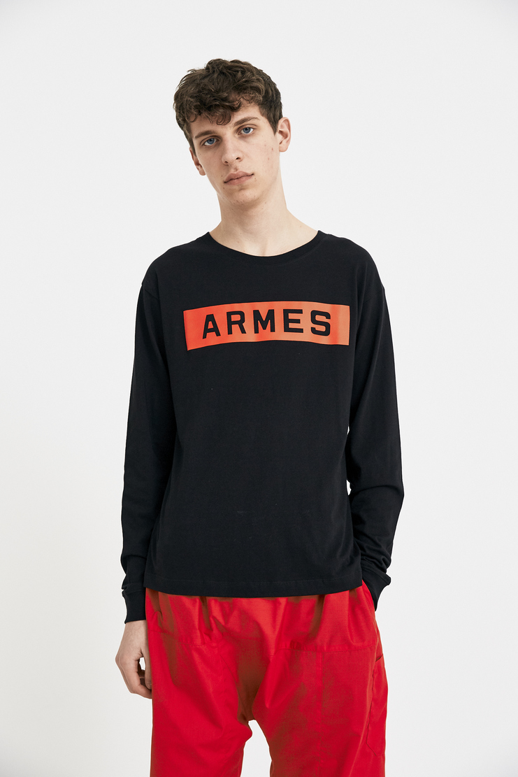 424 X ARMES Black ARMES Long Sleeve Tee Top T-Shirt T S/S 18 SS18 A/W 17 F/W 17 FW17 AW17 Streetwear Streetstyle FOUR TWO FOUR ERMES ARMAS AND Spring Summer Winter Autumn