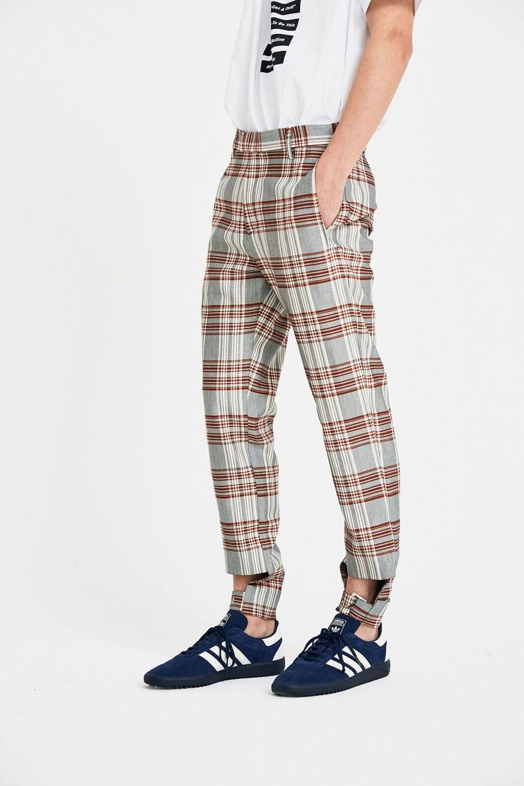 DELADA Red Check Adjustable Trousers S/S 18  ss18 dilada Spring Summer 2018 Machine-A DSM3TR02 Tailored Cut Out checked
