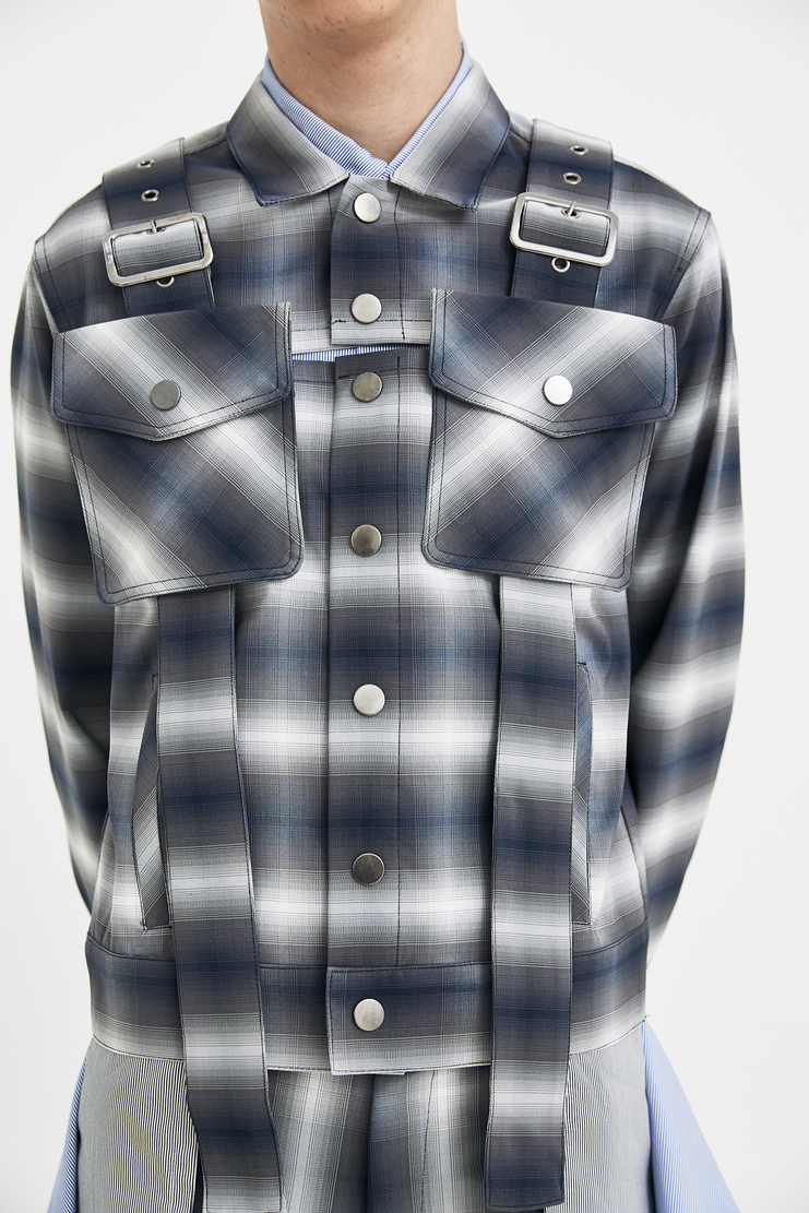 DELADA Grey Check Jacket long sleeve military belt bag s/s 18 ss18 dilada Machine-A