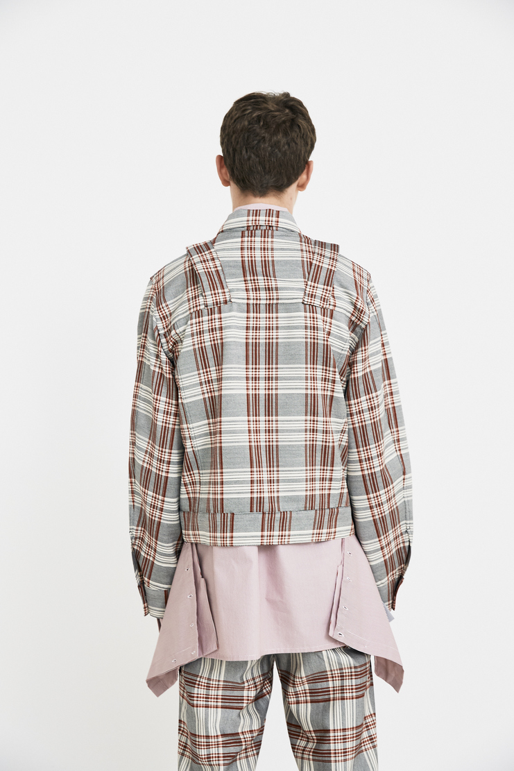 DELADA Red Check Military Jacket long sleeve belt bag detail s/s 18 ss18 Spring Summer 2018 dilada coat grey white stripe Mechine-A