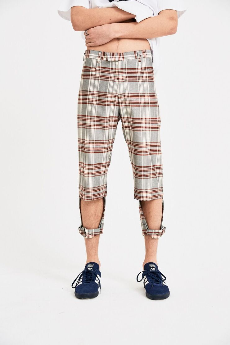 DELADA Red Check Short Pants cut out straps tailored S/S 18  ss18 dilada Spring Summer 2018 Machine-A DMS3TR01 buckle