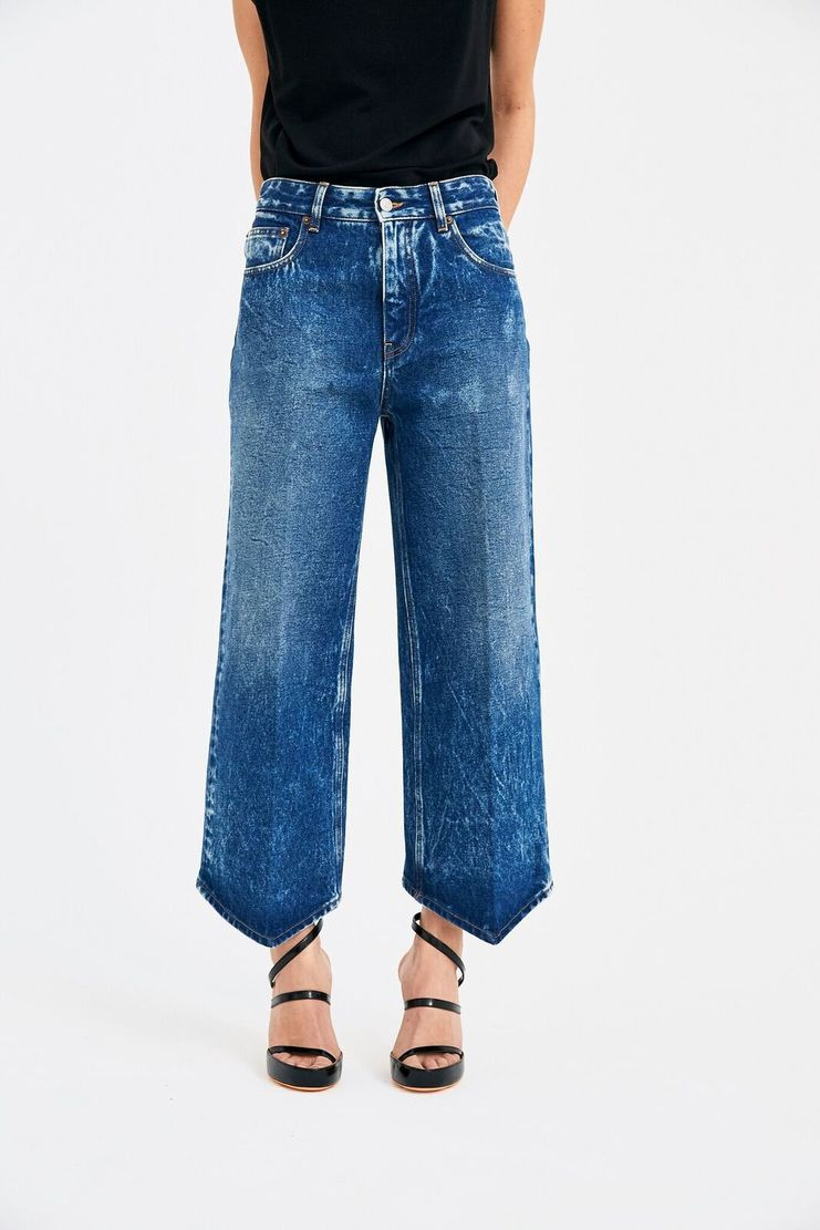 MM6 5 Pocket Pants Margiela Maison Margela Margeila Margella Mason Manson SS 18 S/S 18 Spring Summer Jeans Crop Cropped Blue Acid Wash wide leg mid waist trousers denim
