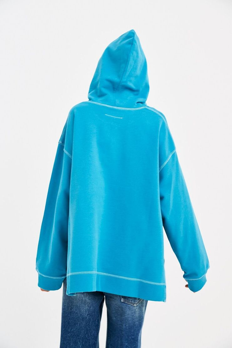 MM6 Blue Oversized Sweatshirt Hoodie Pullover Jumper Sweater Slit Exposed Blue Panel Whtie Hood S/S 18 SS18 Maison Margiela Mason Margela Margella Mason Margeila S52GU0040