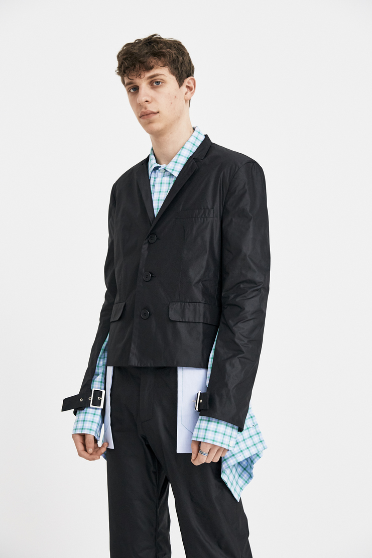 DELADA black jacket buckled sleeves three button long sleeve s/s 18 ss18 Spring Summer 2018 dilada coat Mechine-A