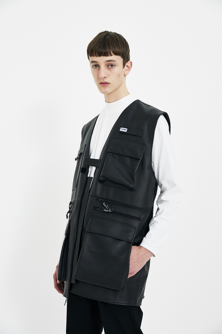 Martine Rose black leather vest military detail jacket outwear S/S 18 SS18 Spring Summer 2018 Machine-A