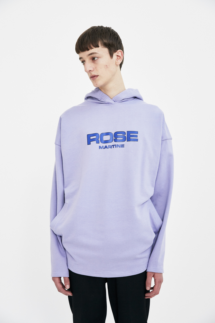 Martine Rose lilac logo print hoodie hoody long sleeve top jumper S/S 18 SS18 Spring Summer 2018 Machine-A
