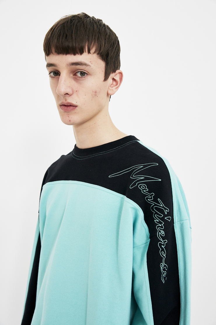Martine Rose light blue collapsed crewneck long sleeve top jumper S/S 18 SS18 Spring Summer 2018 Machine-A