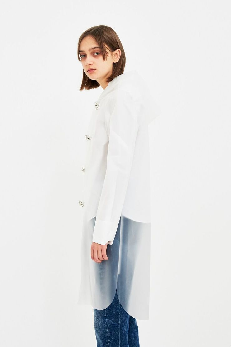 MM6 Transparent Raincoat Trench Coat Jacket Clear Transparent See through White Cotton Rubber S/S 18 SS18 SHOWstudio Machine-A Margela Margella Mason Maisom Margeila Maison Margiela MMM6 S52AH0010