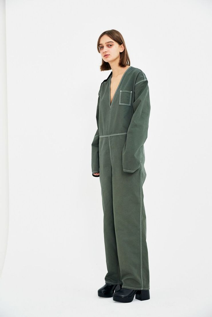 MM6 Green Boiler Suit Jumpsuit Trousers Top Wide Leg Pants S/S 18 SS18 SHOWstudio Machine-A Margela Margella Mason Maisom Margeila Maison Margiela MMM6 S52FP0022