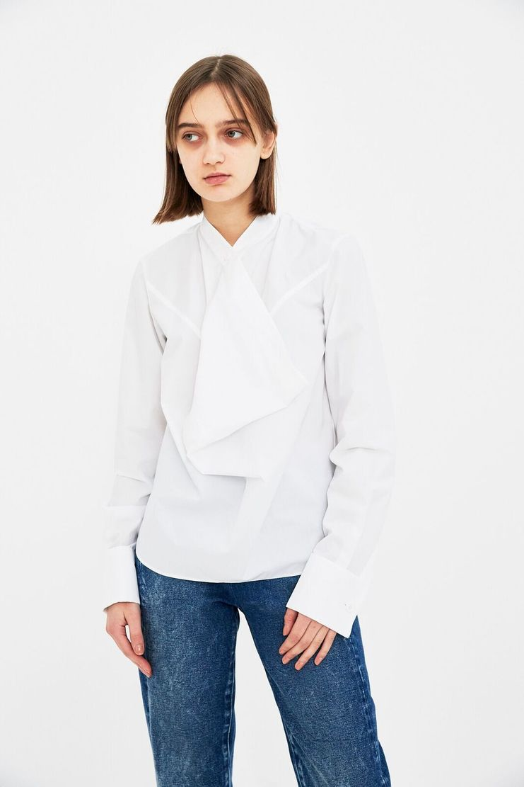 MM6 White Ruffle Blouse Button V-neck V neck Shirt Top Cotton S/S 18 SS18 SHOWstudio Machine-A Margela Margella Mason Maisom Margeila Maison Margiela MMM6 S32NC0542