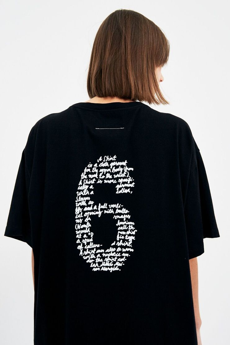 MM6 Black '6' T-Shirt Tee White Top Cotton S/S 18 SS18 SHOWstudio Machine-A Margela Margella Mason Maisom Margeila Maison Margiela MMM6 S32GC0482