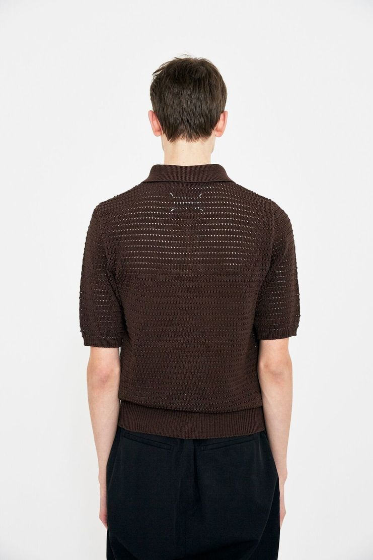 Maison Margiela Brown Pinhole Polo Shirt Sweater Knitted Jumper Top S/S 18 SS18 knit woven margela mason Margeila Margella cut-out