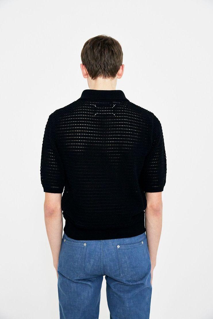 Maison Margiela Black Pinhole Polo Shirt Sweater Knitted Jumper Top S/S 18 SS18 knit woven margela mason Margeila Margella cut-out  S30GL0005