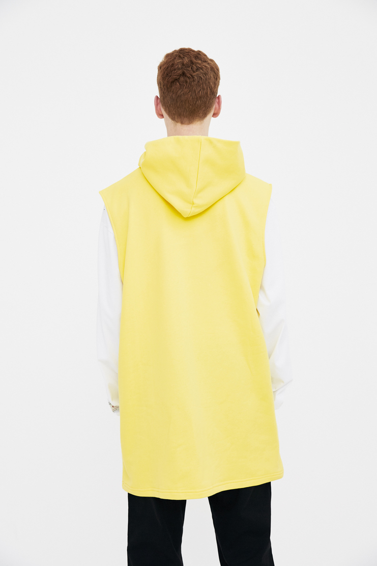 Xander Zhou yellow graphics hoodie top jumper pullover s/s 18 ss18 Spring Summer 2018 xandar zou Machine-A