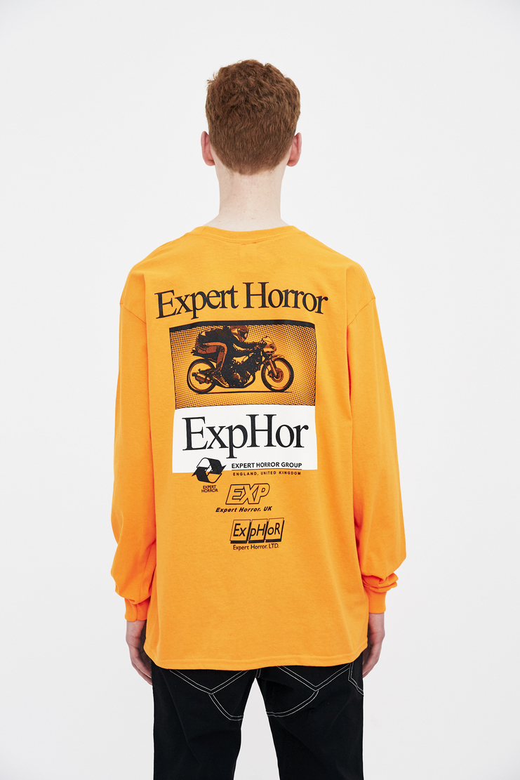 Expert Horror Orange motorcycle rider Long Sleeve Tee T-shirt Top Green S/S 18 SS18 Spring Summer 2018 Machine-A